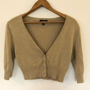 Sparkly gold crop cardigan size small le chateau